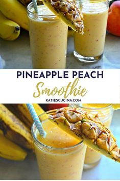 Want to enjoy the delicious flavors of the summer year round? This dairy free/ gluten free Pineapple Peach Smoothie is made with just five ingredients made in five minutes time! #smoothie #tropicalsmoothie #peachsmoothie #pineapplesmoothie #smoothierecipe