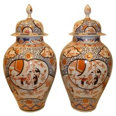 A Pair Of Porcelain Chinese Imari Cover Jars | From a unique collection of antique and modern ceramics at http://www.1stdibs.com/asian-art-furniture/ceramics/
