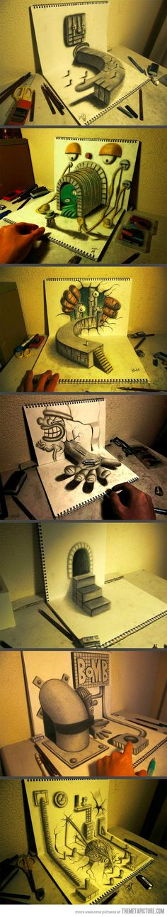 Funny pictures about Illusion Sketchbook Drawings. Oh, and cool pics about Illusion Sketchbook Drawings. Also, Illusion Sketchbook Drawings photos. Sketchbook Drawings, 3d Drawings, Awesome Drawings, 3d Street Art, Illusion 3d, Drawn Art, Illustration Art, Illustrations, Optical Illusions