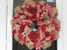 Deco Mesh Red Jute Burlap Wreath for by ThreebyrdsDesigns on Etsy, $93.00