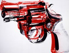 Andy Warhol (American, 1928-1987)       Gun, 1981       acrylic and silkscreen ink on linen       70 x 90 x 1 1/4 in. (177.8 x 228.6 x 3.2 cm.)      The Andy Warhol Museum, Pittsburgh; Founding Collection, Contribution The Andy Warhol Foundation for the Visual Arts, Inc.      © The Andy Warhol Foundation for the Visual Arts, Inc.     1998.1.275