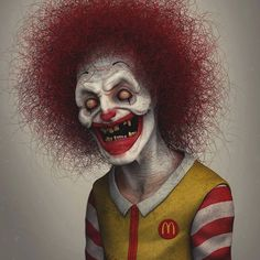 Wil Hughes is the artist behind this collection of iconic characters re-designed with a creepy twist. He is a self-taught sculptor. Gruseliger Clown, Creepy Clown, Creepy Art, Arte Horror, Horror Art, Creepy Horror, Iconic Characters, Cartoon Characters, Halloween Stuff