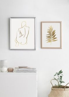 Minimal Line Art. Gold Line Drawing. Gold Leaf Art, Gold Wall Art, Leaf Wall Art, Gold Art, Modern Art Prints, Fine Art Prints, Modern Wall, Modern Decor, Gold Drawing