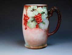 Antique Hand Painted Signed Bavaria Porcelain Mug with Currants, (1900-1930), Tankard