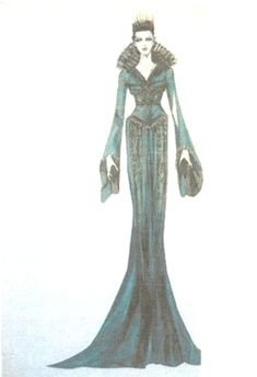 "Concept art by Colleen Atwood of the Beetle Wing Gown as worn by Queen Ravenna in ""Snow White & the Huntsman"" (2012)."