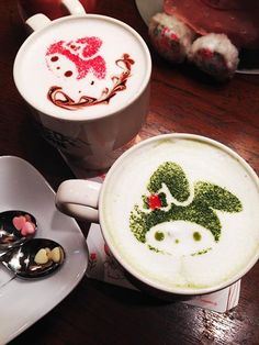 ^___^ Available at Sanrio Puroland ♥ Coffee Koffie Kaffee Coffee Caffe Cafe Joe Coffee, I Love Coffee, Coffee Art, Japanese Food Art, Japanese Sweets, Latte Art, Kitty Cafe, Cute Food, Yummy Food