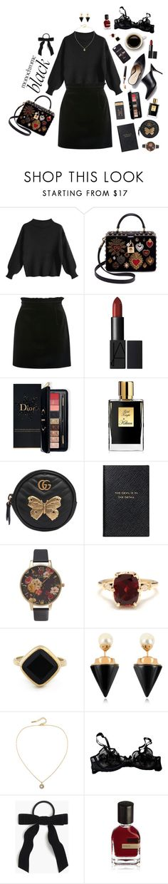 """""""in black ink my love may still shine"""" by hist24jpcs ❤ liked on Polyvore featuring Dolce&Gabbana, Topshop, Estée Lauder, Kilian, Gucci, Smythson, Olivia Burton, Other, Sole Society and Vita Fede"""