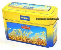 """Storage tin for Crispbread by Wasa Storage tin for crispbread by Wasa. Inscription: """"sinds 1919"""".   Height: 12,5 cm.  Length: 19 cm.  Width: 8 cm.  http://www.mijnwebwinkel.nl/winkel/kenko/en_GB/a-46347445/tins/storage-tin-for-crispbread-by-wasa/"""