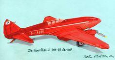 O Homem Ilustrado - The Illustrated Man: De Havilland DH88 Comet sketch