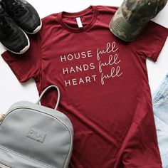 mom shirts House full, hands full, hearts full // All moms need a shirt that remind them of the important things in life // What does your favorite shirt say // I know my But First Diet Coke shirt is pretty accurate // : li Mom Of Boys Shirt, Mama Shirt, Mom Of Girls Shirts, Graphic T Shirts, Funny Shirt Sayings, Shirts With Sayings, Cute Shirts, Funny Shirts, Unisex Gifts