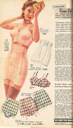 Aldens 1954. The plaid bra + Girdle sets- so cute!