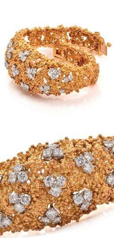 *Boucheron Diamond Nugget Gold Bracelet, Circa 1970.