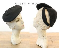 a6ff9d41bb0 40s Tilt Hat   1940s Vintage Black Felt Wool Fascinator Hat   Claire Joyce Hat  by