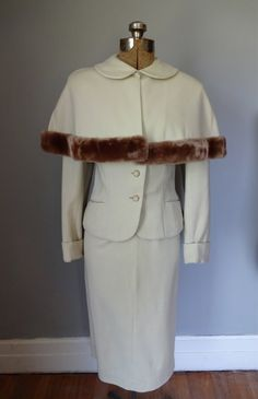 1950s Lambs Wool Skirt Suit Cape Caplet Fur Trim by MDMvintage