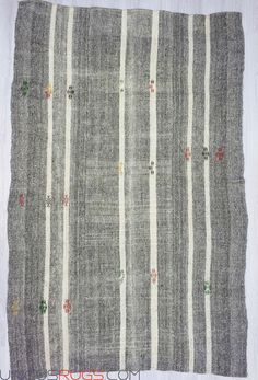 """Handwoven vintage decorative kilim rug from Adana region of Turkey. In very good condition. Approximately 50-60 years old. Metarials; Wool,cotton and goat hair Width: 7' 3"""" - Length: 10' 10"""" Modern and Decorative Kilims"""