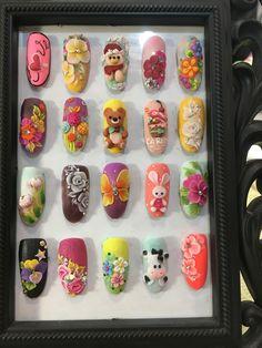 3d Acrylic Nails, 3d Nails, Love Nails, Animal Nail Art, 3d Nail Art, Mickey Nails, 3d Flower Nails, 3d Nail Designs, Happy Nails