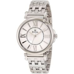 Taking cues from classic and contemporary designs, this quartz-powered Bulova women's watch features a dramatic mother-of-pearl dial and silvertone stainless-steel bracelet. It is a dressy timepiece that is perfect for the modern, classy woman. Stainless Steel Watch, Stainless Steel Bracelet, Brand Name Watches, Bulova Watches, Thing 1, Watch Sale, Watch 2, Cool Watches, Wrist Watches