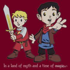 'Merlin & Arthur' T-Shirt by rexraygun Best Tv Series Ever, Bbc Tv Series, Merlin And Arthur, King Arthur, Merlin Funny, Prince Arthur, Great Stories, Tshirt Colors, Nerd