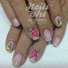 Nude with neon Beautiful Nail Designs, Cute Nail Designs, Nail Manicure, Toe Nails, Spring Nails, Summer Nails, Vanessa Nails, French Nail Art, Flower Nail Art