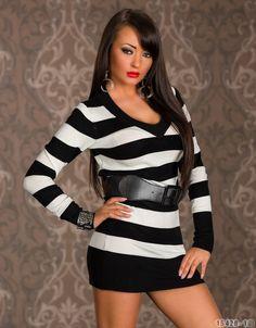 Streifen Minikleid,Tunika,Longshirt,Shirt,Pullover,Longtop Stretch Langarm 36/38