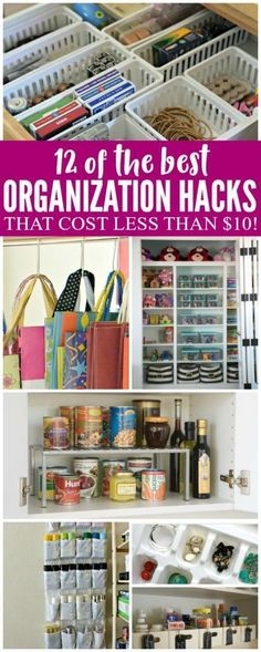 Organization Hacks, Kitchen Organization Hacks, Bathroom Organization Hacks, Home Organization Hacks and Dollar Store Organization Hacks. Get Organized with these Organization Hacks for Budgeters! #organizationtips #organization #homeorganization