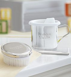 A #personalized cup, brush & comb set will help mom and dad always remember those important first milestones of their #newbaby! #monogram #baby