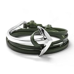 Friendship Leather Silver Multi-Layer Half Bend Anchor Bracelet
