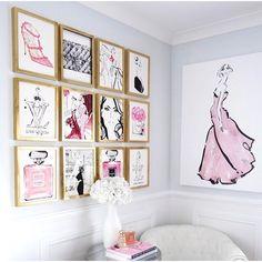 Oooh la la Loving this gallery wall of @kerriehessillustration fashion…
