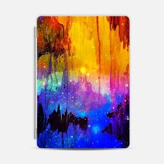 CASTLES IN THE MIST Bold Magical Fantasy Space Galaxy Stars Mountains Colorful Ikat Fine Art Abstract Painting Royal Blue Orange Pink Black Modern Design
