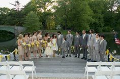 ok, forget the yellow, even though i know you want everything to be yellow ;) i was struck by the champagne/taupe dresses and the grey suits (different colors too) looks very nice :)    Marry You Me: Real Wedding: A Sunny Yellow DIY Wedding in Brooklyn