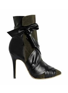 NORMA Leather And Suede Ankle Wrap Boots @ shopjessicabuurman.com
