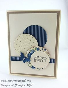 Scraps, circles, ribbon, embossing, butterfly - pretty card!!!