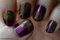 yellow purple cling wrap manicure via @beautybymissl