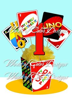 Printable Centerpiece  UNO GAME Instant por WorldofColorDesigns