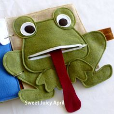 Frog Zipper Mouth Quiet Book Page by SweetJuicyApril on Etsy https://www.etsy.com/listing/203807669/frog-zipper-mouth-quiet-book-page