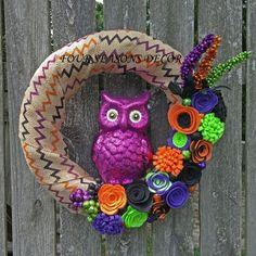 Halloween Wreath, Halloween Burlap Wreath, Halloween Owl Wreath--Halloween Chevron Burlap Wreath with Purple Owl, Felt Flowers, Glitter