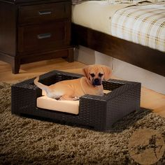 @Overstock - Give your furry friends a comfortable place to call their own with this black wicker dog bed. The bed features an iron frame and weather-resistant beige cushions. This wicker bed is stylish enough for indoor use and durable enough for outdoor use.http://www.overstock.com/Pet-Supplies/Christopher-Knight-Home-Penelope-Wicker-Dog-Bed/6749759/product.html?CID=214117 $69.99