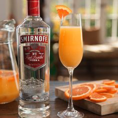 EXECUTIVE BRUNCH DECISION. Kick off the biggest brunch weekend of the year with good drinks and good food.  Mix 1.25 cups SMIRNOFF Vodka, .25 cups sparkling wine, 2.5 cups OJ, and enjoy with 8 friends!