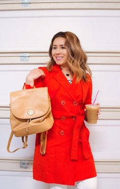 orange trench coat #orangetrenchcoat #workoutfitidea #raindayoutfit