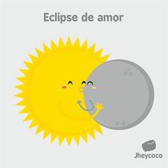 #jheycoco #humor #ilustración #cute #tierno #sol #luna #amor #eclipse