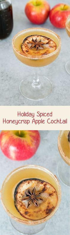 Holiday Spiced Honeycrisp Apple Cocktail -- Honeycrisp apples combine with a holiday spiced simple syrup and bourbon for the perfect holiday apple cocktail. Don't forget the cinnamon sugar rim | wearenotmartha.com
