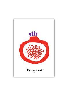 Pomegranate Art print Geometry Vegetable Fruit by dekanimal