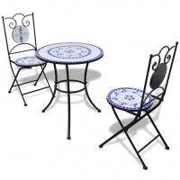 Garten Bistro Set Mosaik Stuhle Tisch 60 Cm Blau Weiss Garten