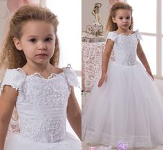 2016 Portrait Lace Pearls Ball Gown Flower Girl Dresses Vintage Child Pageant Dresses Beautiful Flower Girl Wedding Dresses F27 Online with $43.0/Piece on Weddingmall's Store | DHgate.com