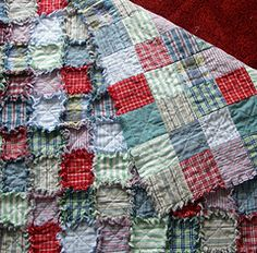 Raggedy Quilt - upcycling old mens shirts with  old t-shirts for batting