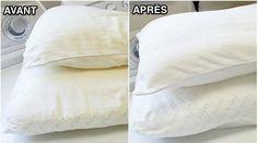 Au fil du temps, les oreillers jaunissent.Pourquoi ? C'est à cause de la transpiration quand on dort.Même en utilisant une taie d'oreiller, la transpiration passe à travers et lais