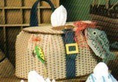 free plastic canvas pattern fish basket | Dad's Fishing Basket Plastic Canvas Pattern - Tissue Box cover