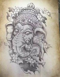 Ganesha Painting, Ganesha Art, Left Arm Tattoos, Sleeve Tattoos, Tattoo Sketches, Tattoo Drawings, Balinese Tattoo, All Seeing Eye Tattoo, Ganesh Tattoo