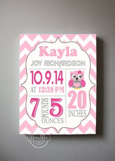Personalized Baby Birth Announcement Canvas for any childs room. This is a Custom Birth Announcement. Personalized wall art for any little girls, or