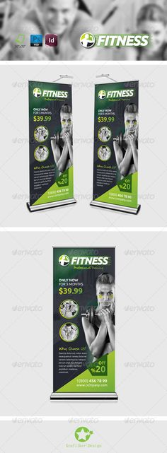 Fitness Salon Roll-Up Template #design Download: http://graphicriver.net/item/fitness-salon-rollup-templates/8279361?ref=ksioks